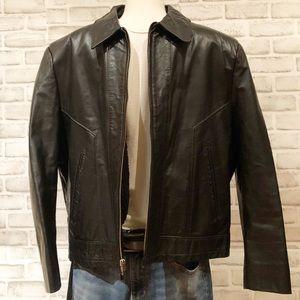 Vintage Sears Shop Leather Jacket w Sherpa Lining